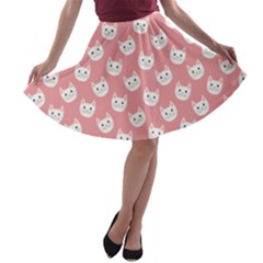 Cute Cat Faces White And Pink A-line Skater Skirt by SpinnyChairDesigns