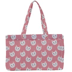 Cute Cat Faces White And Pink Canvas Work Bag by SpinnyChairDesigns