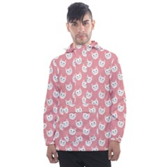 Cute Cat Faces White And Pink Men s Front Pocket Pullover Windbreaker