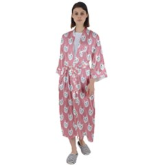 Cute Cat Faces White And Pink Maxi Satin Kimono