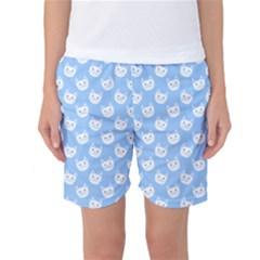 Cute Cat Faces White And Blue  Women s Basketball Shorts