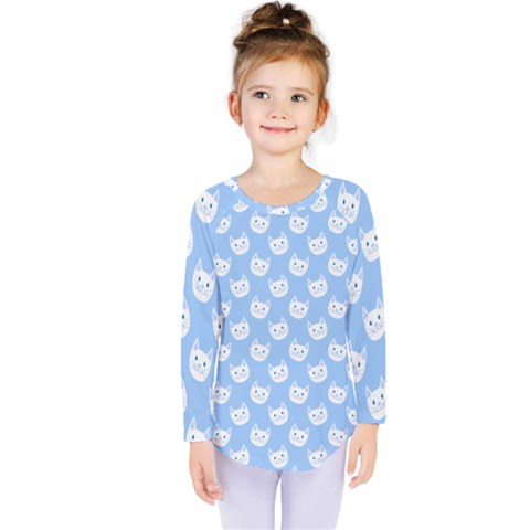 Cute Cat Faces White And Blue  Kids  Long Sleeve Tee by SpinnyChairDesigns