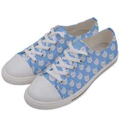 Cute Cat Faces White And Blue  Women s Low Top Canvas Sneakers by SpinnyChairDesigns