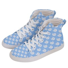 Cute Cat Faces White And Blue  Women s Hi-top Skate Sneakers by SpinnyChairDesigns