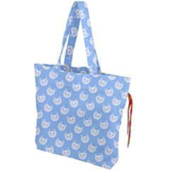 Cute Cat Faces White And Blue  Drawstring Tote Bag by SpinnyChairDesigns