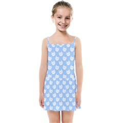Cute Cat Faces White And Blue  Kids  Summer Sun Dress