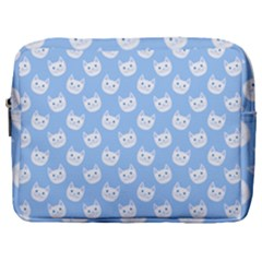 Cute Cat Faces White And Blue  Make Up Pouch (large) by SpinnyChairDesigns