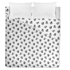 Cat Dog Animal Paw Prints Pattern Black And White Duvet Cover Double Side (queen Size) by SpinnyChairDesigns