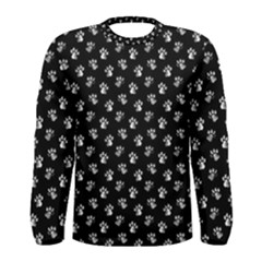 Cat Dog Animal Paw Prints Black And White Men s Long Sleeve Tee