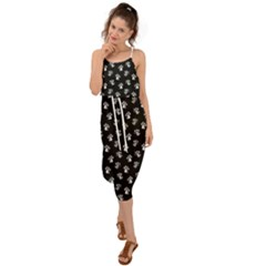 Cat Dog Animal Paw Prints Black And White Waist Tie Cover Up Chiffon Dress