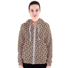 Cat Dog Animal Paw Prints Pattern Brown Black Women s Zipper Hoodie
