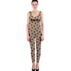 Cat Dog Animal Paw Prints Pattern Brown Black One Piece Catsuit