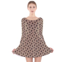 Cat Dog Animal Paw Prints Pattern Brown Black Long Sleeve Velvet Skater Dress
