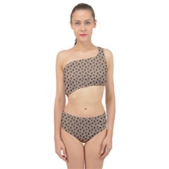 Cat Dog Animal Paw Prints Pattern Brown Black Spliced Up Two Piece Swimsuit