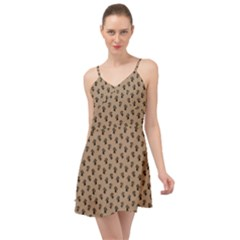 Cat Dog Animal Paw Prints Pattern Brown Black Summer Time Chiffon Dress