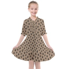 Cat Dog Animal Paw Prints Pattern Brown Black Kids  All Frills Chiffon Dress