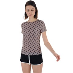 Cat Dog Animal Paw Prints Pattern Brown Black Back Circle Cutout Sports Tee