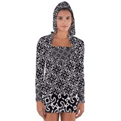 Black And White Decorative Design Pattern Long Sleeve Hooded T-shirt by SpinnyChairDesigns