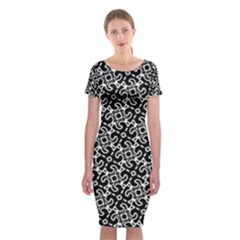 Black And White Decorative Design Pattern Classic Short Sleeve Midi Dress