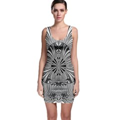 Abstract Art Black And White Floral Intricate Pattern Bodycon Dress by SpinnyChairDesigns