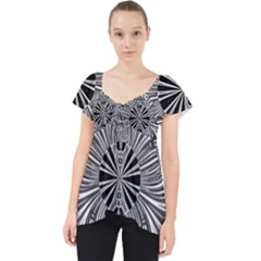 Abstract Art Black And White Floral Intricate Pattern Lace Front Dolly Top