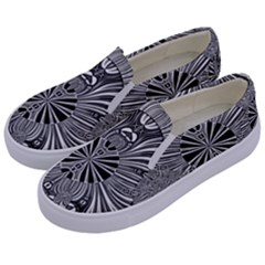 Abstract Art Black And White Floral Intricate Pattern Kids  Canvas Slip Ons by SpinnyChairDesigns