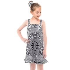 Abstract Art Black And White Floral Intricate Pattern Kids  Overall Dress by SpinnyChairDesigns