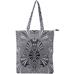 Abstract Art Black And White Floral Intricate Pattern Double Zip Up Tote Bag by SpinnyChairDesigns