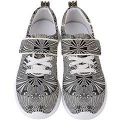 Abstract Art Black And White Floral Intricate Pattern Men s Velcro Strap Shoes by SpinnyChairDesigns