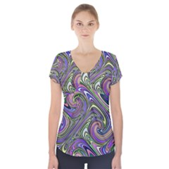 Abstract Art Purple Swirls Pattern Short Sleeve Front Detail Top