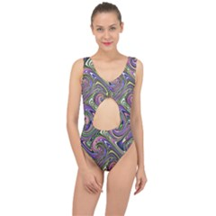 Abstract Art Purple Swirls Pattern Center Cut Out Swimsuit by SpinnyChairDesigns