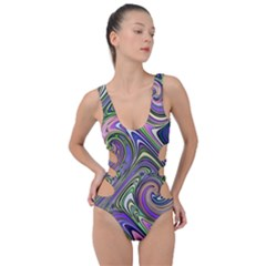 Abstract Art Purple Swirls Pattern Side Cut Out Swimsuit by SpinnyChairDesigns