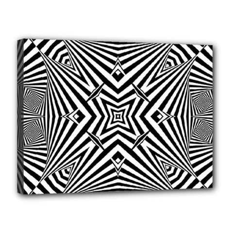 Black And White Line Art Pattern Stripes Canvas 16  X 12  (stretched)