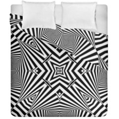 Black And White Line Art Pattern Stripes Duvet Cover Double Side (california King Size)