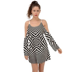 Black And White Line Art Pattern Stripes Kimono Sleeves Boho Dress