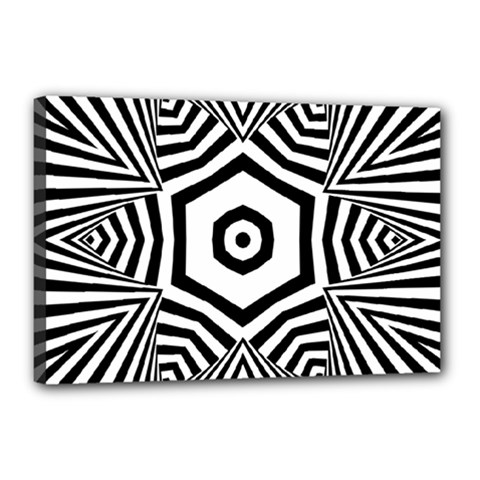 Black And White Line Art Stripes Pattern Canvas 18  X 12  (stretched) by SpinnyChairDesigns