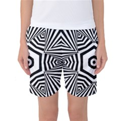 Black And White Line Art Stripes Pattern Women s Basketball Shorts by SpinnyChairDesigns