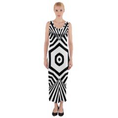 Black And White Line Art Stripes Pattern Fitted Maxi Dress by SpinnyChairDesigns