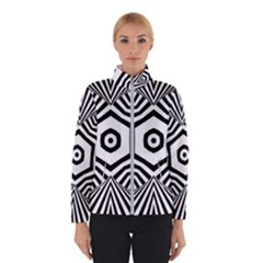 Black And White Line Art Stripes Pattern Winter Jacket by SpinnyChairDesigns