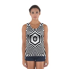 Black And White Line Art Stripes Pattern Sport Tank Top  by SpinnyChairDesigns
