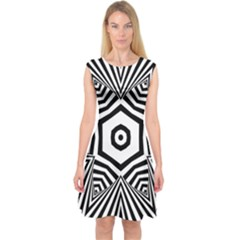 Black And White Line Art Stripes Pattern Capsleeve Midi Dress by SpinnyChairDesigns