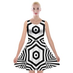 Black And White Line Art Stripes Pattern Velvet Skater Dress by SpinnyChairDesigns