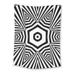 Black And White Line Art Stripes Pattern Medium Tapestry by SpinnyChairDesigns