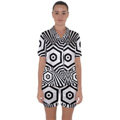 Black And White Line Art Stripes Pattern Satin Short Sleeve Pyjamas Set by SpinnyChairDesigns