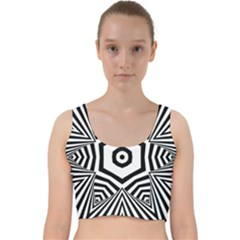 Black And White Line Art Stripes Pattern Velvet Racer Back Crop Top by SpinnyChairDesigns