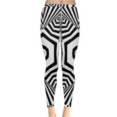 Black And White Line Art Stripes Pattern Inside Out Leggings by SpinnyChairDesigns