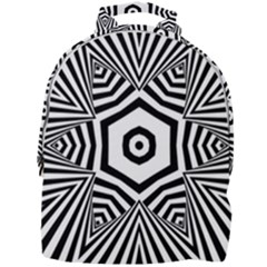 Black And White Line Art Stripes Pattern Mini Full Print Backpack by SpinnyChairDesigns