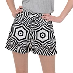 Black And White Line Art Stripes Pattern Ripstop Shorts by SpinnyChairDesigns
