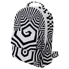 Black And White Line Art Stripes Pattern Flap Pocket Backpack (small) by SpinnyChairDesigns