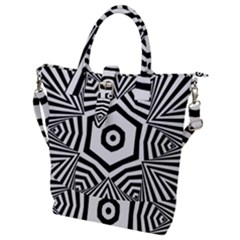 Black And White Line Art Stripes Pattern Buckle Top Tote Bag by SpinnyChairDesigns